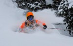 CMH Revelstoke Guide Jeff Bellis working his way through the deep pow. Feb 16, 2011